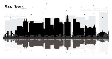 San Jose California City skyline black and white silhouette with Reflections. Simple flat concept for tourism presentation, banner, placard or web site. Cityscape with landmarks. Ilustrace