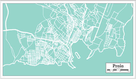 Praia Cape Verde City Map in Retro Style. Outline Map. Vector Illustration.