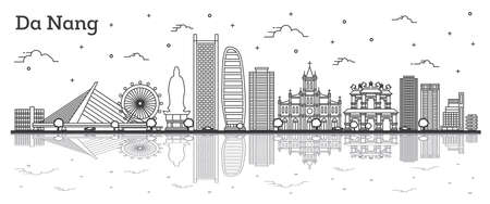 Outline Da Nang Vietnam City Skyline with Historic Buildings and Reflections Isolated on White. Vector Illustration. Da Nang Cityscape with Landmarks.