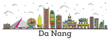 Outline Da Nang Vietnam City Skyline with Color Buildings Isolated on White. Vector Illustration. Da Nang Cityscape with Landmarks.