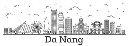 Outline Da Nang Vietnam City Skyline with Historic Buildings Isolated on White. Vector Illustration. Da Nang Cityscape with Landmarks.