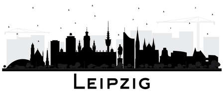 Leipzig Germany City Skyline Silhouette with Black Buildings Isolated on White. Vector Illustration. Business Travel and Tourism Concept with Historic Architecture. Leipzig Cityscape with Landmarks. Stock Vector - 116794211