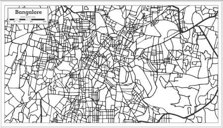 Bangalore India City Map in Retro Style. Outline Map. Vector Illustration.