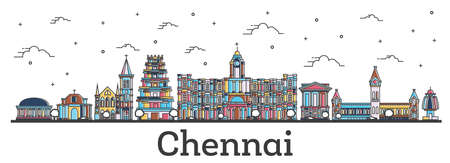 Outline Chennai India City Skyline with Color Buildings Isolated on White. Vector Illustration. Chennai Cityscape with Landmarks. Vector Illustration