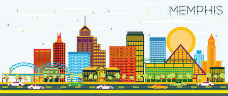Memphis Tennessee Skyline with Color Buildings and Blue Sky. Vector Illustration. Business Travel and Tourism Concept with Historic Architecture. Memphis USA Cityscape with Landmarks.