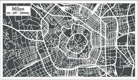 Milan Italy City Map in Retro Style. Outline Map. Vector Illustration.