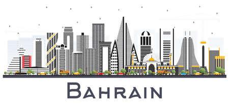 Toits de la ville de Bahreïn avec des bâtiments gris. Illustration vectorielle. Concept de voyage d'affaires et de tourisme à l'architecture moderne. Paysage urbain de Bahreïn avec des points de repère.
