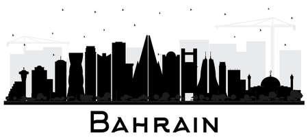 Silhouette d'horizon de ville de Bahreïn avec les bâtiments noirs d'isolement sur le blanc. Illustration vectorielle. Concept de voyage d'affaires et de tourisme avec une architecture moderne. Paysage urbain de Bahreïn avec des points de repère. Vecteurs