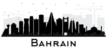 Bahrain City Skyline Silhouette with Black Buildings Isolated on White. Vector Illustration. Business Travel and Tourism Concept with Modern Architecture. Bahrain Cityscape with Landmarks. Illustration