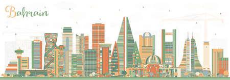 Toits de la ville de Bahreïn avec des bâtiments de couleur. Illustration vectorielle. Concept de voyage d'affaires et de tourisme à l'architecture moderne. Paysage urbain de Bahreïn avec des points de repère.