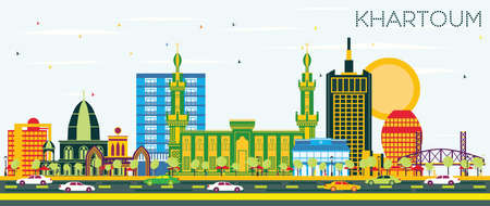 Khartoum Sudan City Skyline with Color Buildings and Blue Sky. Vector Illustration. Business Travel and Tourism Concept with Historic Architecture. Khartoum Cityscape with Landmarks. Vetores