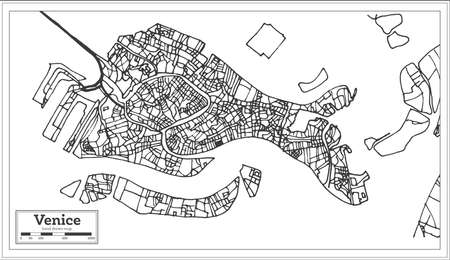 Venice Italy City Map in Retro Style. Outline Map. Vector Illustration.