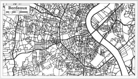 Plan de la ville de Bordeaux France dans un style rétro. Carte muette. Illustration vectorielle. Vecteurs