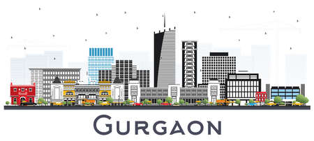 Gurgaon Inde City Skyline avec bâtiments gris isolés sur blanc. Illustration vectorielle. Concept de voyage d'affaires et de tourisme à l'architecture moderne. Paysage urbain de Gurgaon avec points de repère.
