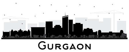 Gurgaon India City Skyline Silhouette with Black Buildings Isolated on White. Vector Illustration. Business Travel and Tourism Concept with Modern Architecture. Gurgaon Cityscape with Landmarks. Illustration