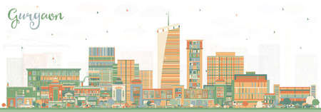 Gurgaon India City Skyline with Color Buildings. Vector Illustration. Business Travel and Tourism Concept with Modern Architecture. Gurgaon Cityscape with Landmarks. Illustration