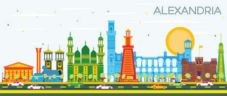 Alexandria Egypt City Skyline with Color Buildings and Blue Sky. Vector Illustration. Business Travel and Tourism Concept with Historic Architecture. Alexandria Cityscape with Landmarks. Illustration