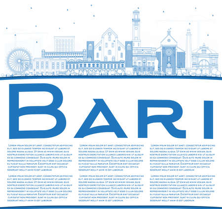Outline Bari Italy City Skyline with Blue Buildings and Copy Space. Vector Illustration. Business Travel and Tourism Concept with Modern Architecture. Bari Cityscape with Landmarks.