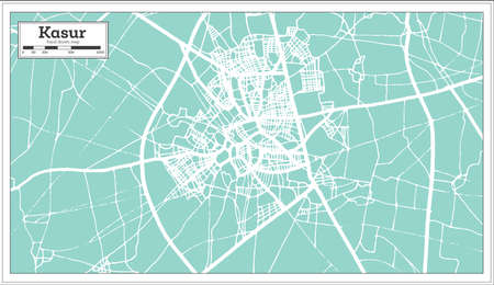Kasur Pakistan City Map in Retro Style. Outline Map. Vector Illustration.