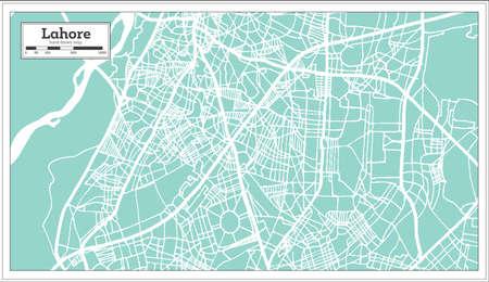 Lahore Pakistan City Map in Retro Style. Outline Map. Vector Illustration. Ilustração