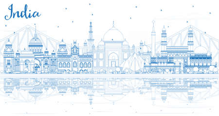 Outline India City Skyline with Blue Buildings and Reflections. Delhi. Hyderabad. Kolkata. Vector Illustration. Travel and Tourism Concept with Historic Architecture. India Cityscape with Landmarks. Vetores