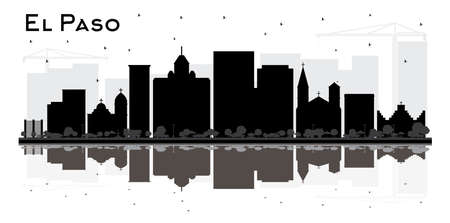 El Paso Texas City Skyline Silhouette with Bl;ack Buildings and Reflections. Vector Illustration. Business Travel and Tourism Concept with Modern Architecture. El Paso Cityscape with Landmarks. Illustration