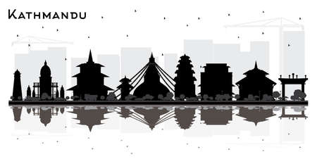 Kathmandu Nepal City Skyline Silhouette with Black Buildings and Reflections. Vector Illustration. Business Travel and Tourism Concept with Historic Architecture. Kathmandu Cityscape with Landmarks. Ilustração