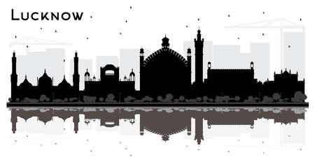 Lucknow India City Skyline Silhouette with Black Buildings and Reflections. Vector Illustration. Business Travel and Tourism Concept with Modern Architecture. Lucknow Cityscape with Landmarks. Illustration