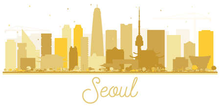 Seoul Korea Skyline Silhouette with Golden Buildings Isolated on White. Vector Illustration. Business Travel and Tourism Concept with Modern Architecture. Seoul Cityscape with Landmarks.