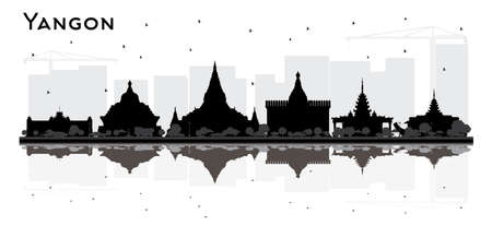 Yangon Myanmar City Skyline Silhouette with Black Buildings and Reflections. Vector Illustration. Business Travel and Tourism Concept with Historic Architecture. Yangon Cityscape with Landmarks.