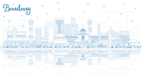 Outline Bandung Indonesia City Skyline with Blue Buildings and Reflections. Vector Illustration. Business Travel and Tourism Concept with Historic Architecture. Bandung Cityscape with Landmarks. Illustration