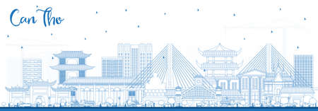 Outline Can Tho Vietnam City Skyline with Blue Buildings. Vector Illustration. Business Travel and Tourism Concept with Historic Architecture. Can Tho Cityscape with Landmarks. 向量圖像