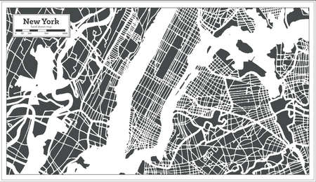 New York USA City Map in Retro Style. Outline Map. Vector Illustration.