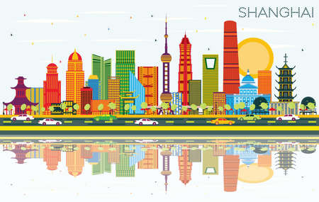 Shanghai China City Skyline with Color Buildings, Blue Sky and Reflections. Vector Illustration. Business Travel and Tourism Concept with Modern Architecture. Shanghai Cityscape with Landmarks.