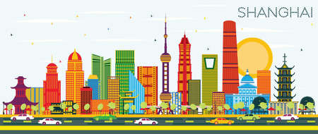 Shanghai China City Skyline with Color Buildings and Blue Sky. Vector Illustration. Business Travel and Tourism Concept with Modern Architecture. Shanghai Cityscape with Landmarks.