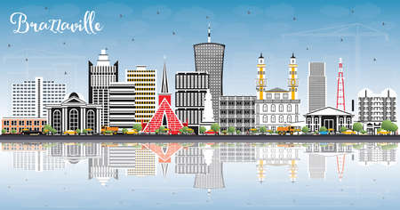 Brazzaville Republic of Congo City Skyline with Gray Buildings, Blue Sky and Reflections. Vector Illustration. Business Travel and Tourism Concept with Historic Architecture. Brazzaville Cityscape with Landmarks.