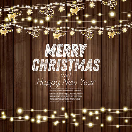 Golden Garland with Helicopters and Stars on Wooden Background. Merry Christmas and Happy New Year Concept. Vector Illustration.