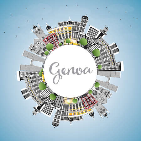 Genoa Italy City Skyline with Color Buildings, Blue Sky and Copy Space. Vector Illustration. Business Travel and Tourism Concept with Modern Architecture. Genoa Cityscape with Landmarks.