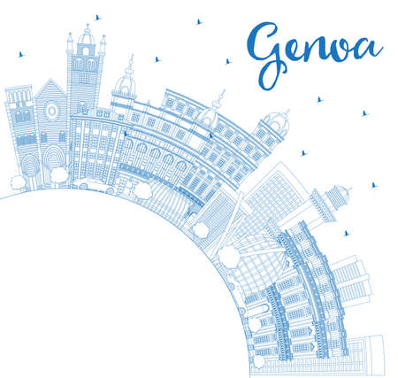 Outline Genoa Italy City Skyline with Blue Buildings and Copy Space. Vector Illustration. Business Travel and Tourism Concept with Modern Architecture. Genoa Cityscape with Landmarks.