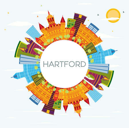 Hartford Connecticut USA Skyline with Color Buildings, Blue Sky and Copy Space. Vector Illustration. Business Travel and Tourism Concept with Historic Architecture. Hartford Cityscape with Landmarks.  イラスト・ベクター素材
