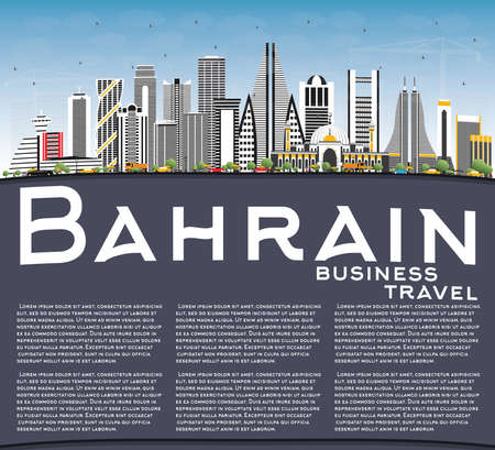 Bahrain City Skyline with Gray Buildings, Blue Sky and Copy Space. Vector Illustration. Business Travel and Tourism Concept with Modern Architecture. Bahrain Cityscape with Landmarks.
