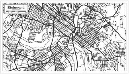 Plan de la ville de Richmond Virginia USA dans un style rétro. Carte muette. Illustration vectorielle.