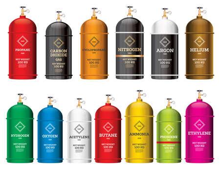 Gas-Tank-Zylinder-Set, isoliert auf weiss. Vektor-Illustration. Behälter und Ballons mit unterschiedlichen Gefahrengasen. Stickstoff, Sauerstoff, Acetylen, Argon. Vektorgrafik