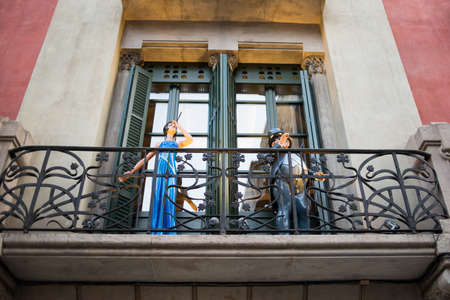 Barcelona, Spain - March 18, 2018: Vintage Statues on Arcs Street in Barcelona, Spain.