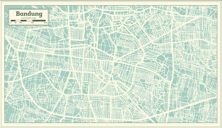 Bandung Indonesia City Map in Retro Style. Outline Map. Vector Illustration.