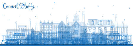 Outline Council Bluffs Iowa Skyline with Blue Buildings. Vector Illustration. Business Travel and Tourism Illustration with Historic Architecture. Council Bluffs Cityscape with Landmarks.