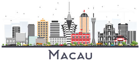 Macau China City Skyline Silhouette with Golden Buildings. Vector Illustration. Business Travel and Tourism Concept with Modern Architecture. Macau Cityscape with Landmarks. Vettoriali