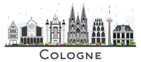 Cologne Germany City Skyline with Gray Buildings Isolated on White. Vector Illustration. Business Travel and Tourism Concept with Historic Architecture. Cologne Cityscape with Landmarks.