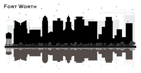 Fort Worth Texas City Skyline Silhouette with Black Buildings and Reflections. Vector Illustration. Business Travel and Tourism Concept with Modern Architecture. Fort Worth Cityscape with Landmarks. Illustration