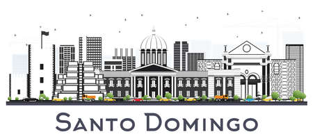 Santo Domingo Dominican Republic City Skyline with Gray Buildings Isolated on White. Vector Illustration. Business Travel and Tourism Concept with Historic Architecture. Santo Domingo Cityscape with Landmarks.